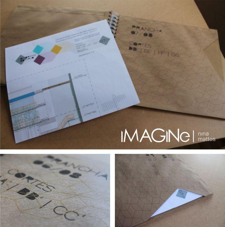envelopes kraft, com impressão e recorte